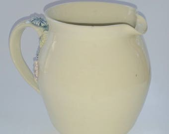 Off White Pitcher with Pastel Flower Appliques - Wheel Thrown Pottery