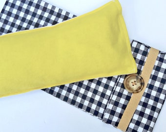 Sunny Yellow and White Cotton Flax seed hot/cold eye pillow with Dust Cover and Washable Flax Sack cover