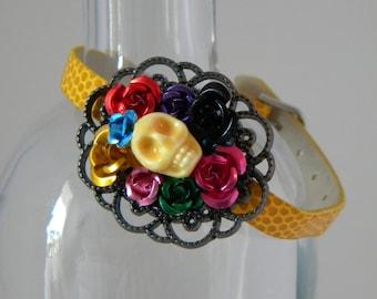 Dia De Los Muertos Bracelet, Skull & Roses Bracelet, Rockabilly Bracelet