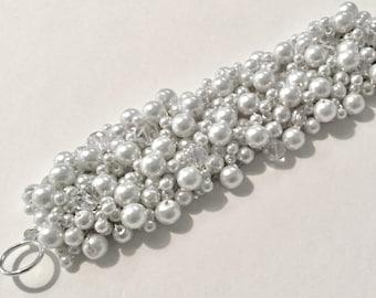 WHITE PEARL SPARKLING Crystal Modern Classic Bridal Wedding Statement,  Unique Hand Knit  Exclusive, Sereba Designs