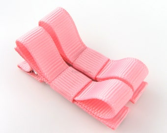 Cotton Candy Pink Hair Clips Basic Tuxedo Bow - Set of 2 - Matching Pair Alligator Barrettes for Babies Toddlers Girls