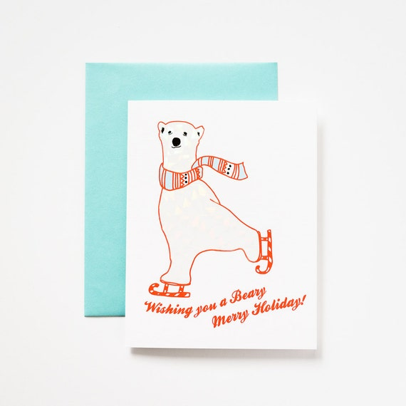Polar Bear Beary Merry Xmas with Holographic Foil Detail Set of 5 Greeting Cards