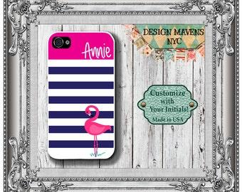 Personalized iPhone Case, Preppy Flamingo Stripe Monogram iPhone Case,iPhone 4, iPhone 4s, iPhone 5, iPhone 5s, iPhone 5c, iPhone 6