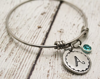 Initial and Birthstone Adjustable Style Bangle Personalized Hand Stamped Bracelet