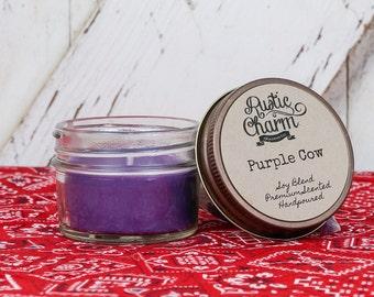 Purple Cow Scent Candle 4 oz Mini Mason Jar Rustic Charm