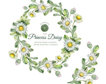 Daisys, watercolor frame, watercolor clipart, hand painted, 9 clipart's without background, 9 png files - 300 dpi