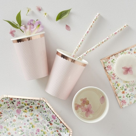 Rose Gold Polka Dot Paper Cups