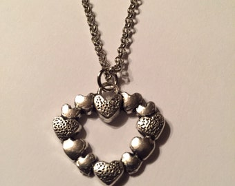 Metal hearts on a heart necklace, heart jewelry, heart necklace