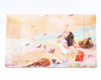 Beige clutch bag, girl with birds print bag, summer clutch, bridesmaid clutch, wedding on the beach, designer clutch purse,  gift for her
