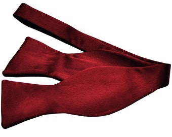 New Polyester Men's Solid Burgundy Self-Tie Bowtie, for Formal Occasions