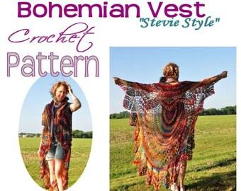 Bohemian Vest Crochet PATTERN-- Sleeveless Boho Style Shawl Cape Vest