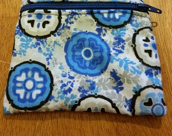 Coin Purse / Blue and Gray Print