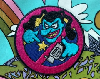 Blue meanie iron on patch ACAB