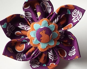 Purple Flower with Squirrels and Acorns  for Girl Dog or Cat Collar