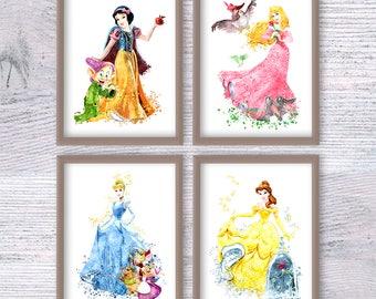 Disney princess print Set of 4 Disney wall decor Princess watercolor poster Nursery room decor Kids room wall art Girls room decoration V442