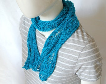 Ladies knitted scarf, hand knit scarf. cotton scarf, gift for her, mothers day gift, skinny scarf, vegan scarf,