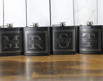 Flask/Engraved/6oz/Split Letter/Initial/Groom Gift/Groomsmen/Bachelor Party/Father's Day/Flask/Color Choice/Personalized