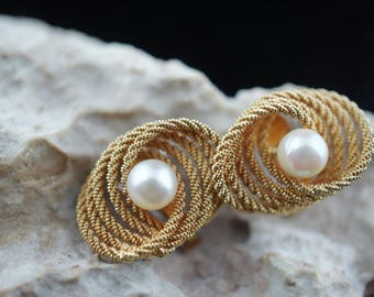 14K kt Gold Clip On Earrings  solid yellow white gold Italy Uno A-Erre  Aerre Arezzo mother pearls Vintage  Art Deco  jewelry designer K