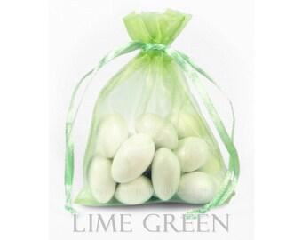 10 Lime Green Organza Bags, 12 x 14 Inch Sheer Fabric Favor Bags
