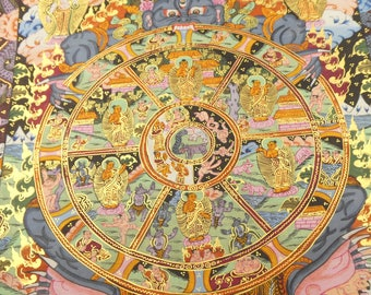 Tibetan Thangka - wheel of life - Traditional Tibetan thangka