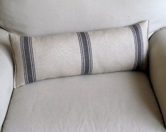FRENCH LAUNDRY Linen/Cotton 9x25 Bolster/lumbar pillow in dark blue stripes