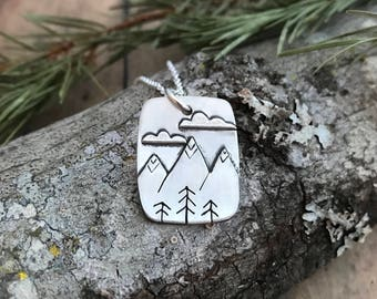 Mountain, Pine Trees and Cloud Necklace, Hand Cut, Sterling Silver Mountains, Clouds and Stick Pine Tree Necklace