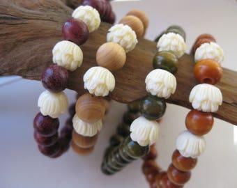 Lotus flower wooden meditation yoga bracelet