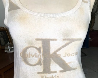 Tank top with straps, top, unbleached cotton, Screenprinted calvin jeans, size S woman tee-shirt