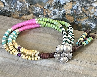 Multi-color Boho Seed Bead Leather Wrap Bracelet For Women/ Beaded Wrap Bracelet/ Gifts For Her/ Bohemian Bracelet/ Boho Wrap Bracelet.