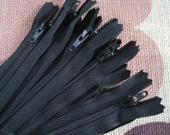 6 Inch Black YKK Zipper - Set of 24 pcs