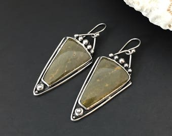 Olive Green Earrings, Sterling Silver and Ocean Jasper Dangles, Triangle Shape Silversmith Jewelry