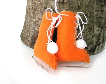 Fühlte mich Christmas Ornament Schlittschuhe Orange Vintage-Stil-Öko