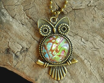 Fluid Art Pendant, Owl Acrylic Pour Necklace, Wearable Art, Boho, Gifts for Her, Pendant, Stocking Stuffer, Abstract