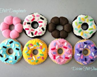Wool Felt Mini Doughnuts Set-Felt Food-Pretend Play Tea Party