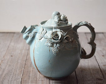 Alice in Wonderland Teapot -MADE TO ORDER -  Stoneware teapot with roses in light blue granitic glaze
