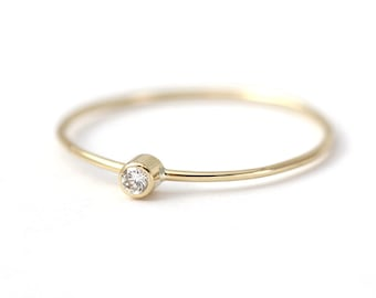 Baby Diamond Ring, Simple Engagement Ring, Tiny Diamond Ring, Everyday Diamond Ring, Thin Gold Ring, Dainty Engagement Ring, Small Diamond