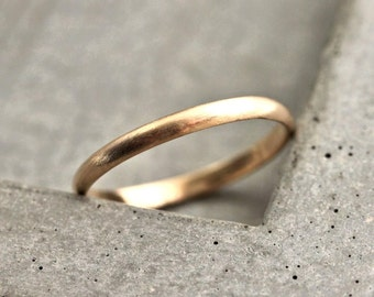 Women's Gold Wedding Band, 2mm Half Round Slim Recycled 14k Yellow Gold Ring Brushed Gold Wedding Ring - Made in Your Size