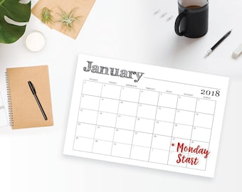 2018 Printable Wall Calendar MONDAY START - Black, Rustic, Monthly Wall Calendar and Family Planner - Instant Download