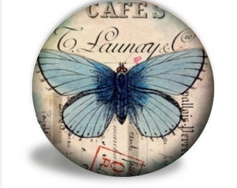 Butterfly Pocket Mirror, Blue Butterfly Pocket Mirror