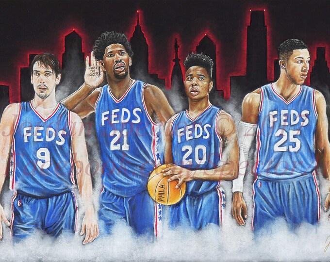 "Philadelphia 76ers ""FEDS"" Open Edition Art Print"