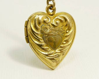 Vintage Gold Filled Puffy Heart Locket Art Nouveau Style