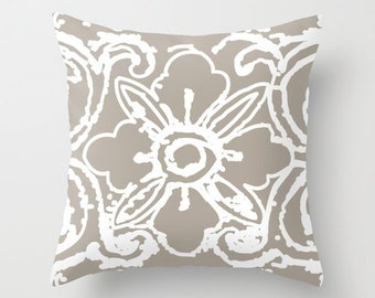 Tibetan Flower Pillow Cover - Soft Taupe Brown Grey - Modern Home Decor - includes insert
