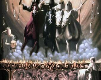 The Seven Seals Print Christian Art Revelation Surreal Four Horseman Anthony Falbo