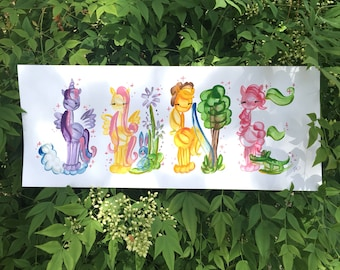 Ma petite Licorne, cheval, poney, équestre nom magique peinture - sur commande