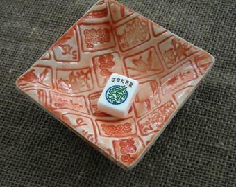 Mahjong Bowl - Oriental Dish - Mahjong Snack Plate - Mahjong Dish - Mahjong Gift - Mahjong Pottery - Orange Mahjong Bowl