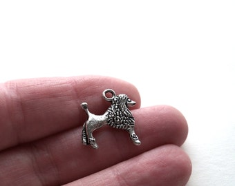 Poodle Charms Silver Metal Poodle Charms 3D Metal Poodle Charms  - set  of 6