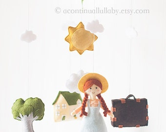 Nursery Baby Mobile, Nursery Decor, Storybook Mobile by A Continual Lullaby, Baby Girl Nursery Mobile, Little Girl Green House Sun Cloud