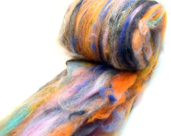 "Fiber Art Batt, fiber spinning batt, felting batt, hand dyed, orange, purple,  pink, drum carded batt, Colorway ""Nature's Bouquet""  4 oz."