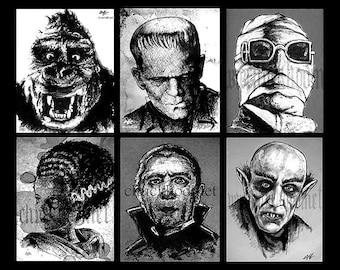 "Prints 8x10"" - The Alternate Monster Series - Dark Art Horror Frankenstein Bela Lugosi Nosferatu King Kong Classic Monsters Vintage Gothic"