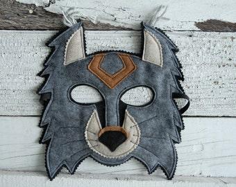 Lynx Costume - Felt Animal Mask and Tail - Choose Eco or Wool Felt - Kid Costume - Animal Costume